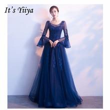 It's YiiYa Evening Dress 2019 Royal Blue Embroid Beeding Slim Long Women Party Dress Flare Sleeve Robe de Soiree Plus Size E501