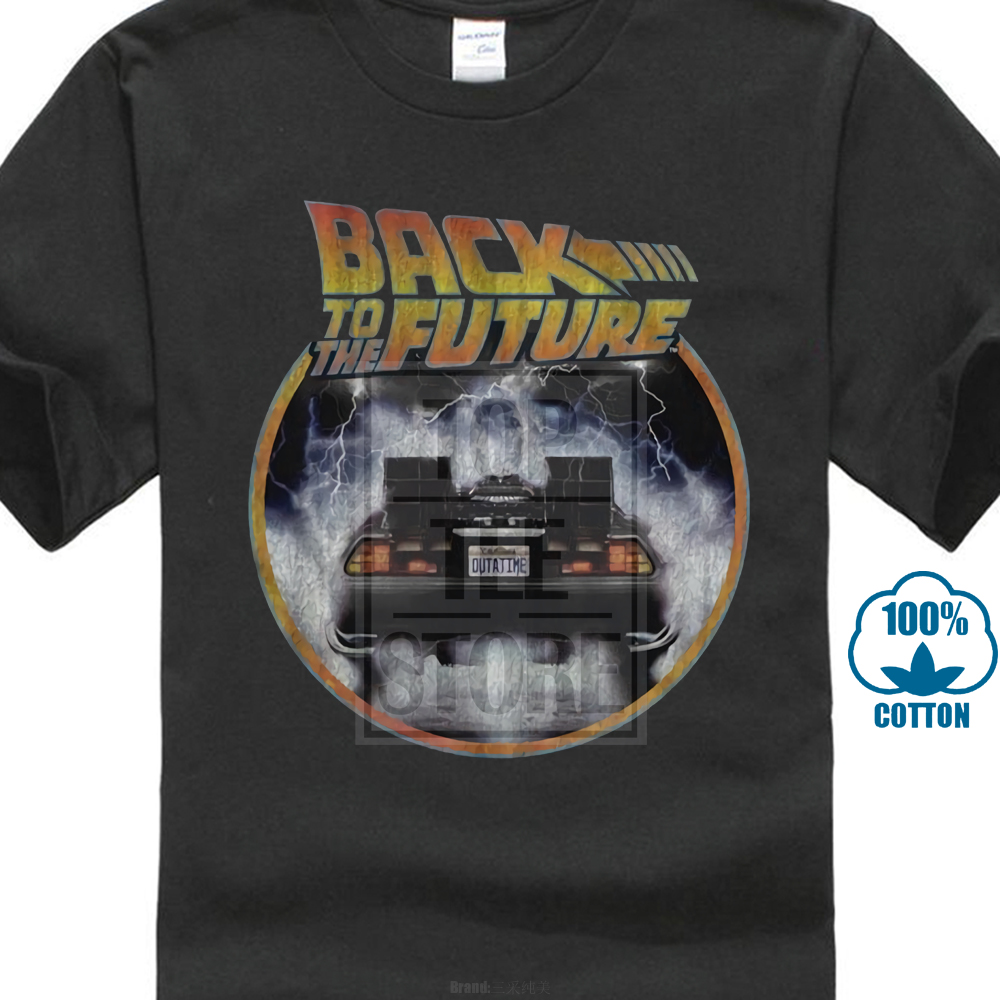 Back To The Future Movie Logo Delorean Licensed Adult   T     Shirt