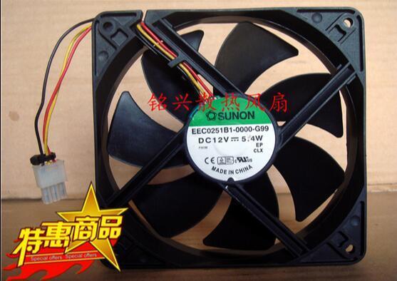 SUNON EEC0251B1-0000-G99 120*120*25mm 12cm 5.4W DC 12V 3-wire Cabinet Cooling Fan sunon mf75120v1 c180 g99 server cooling fan dc 5v 2 50w 3 wire