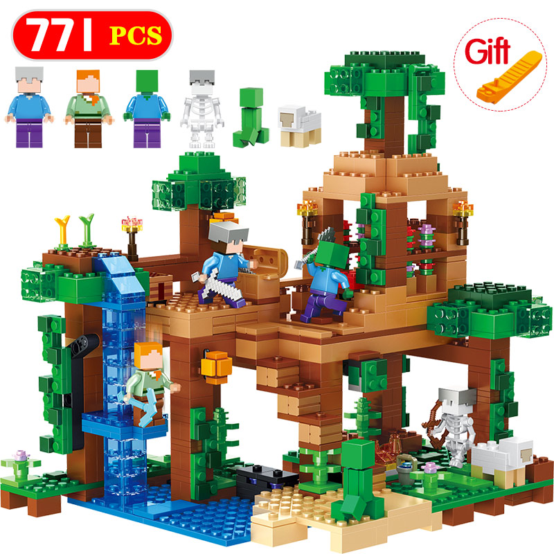 New The Jungle Tree House Minecrafted Building Blocks Bricks Compatible Legoingly Minecrafted 21125 Kids Birthday Toys Gifts lepin 18003 my world series the jungle tree house model building blocks set compatible original 21125 mini toys for children