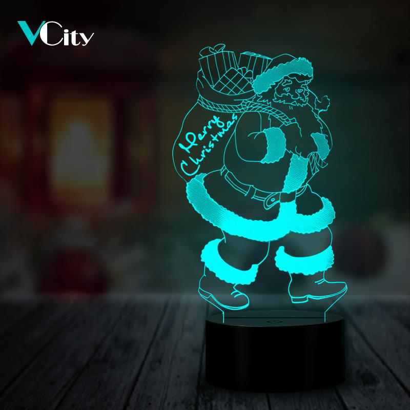 VCity Santa Claus 3D Night Light LED USB RGB Bedside Decoration Christmas Xmas Gifts Home Decor Festival Present