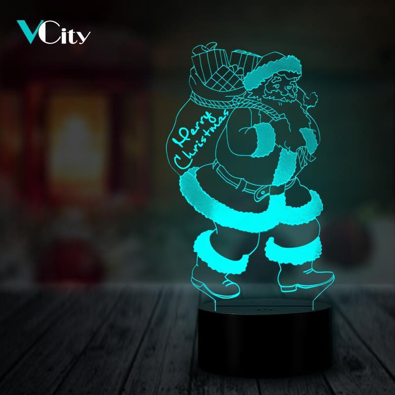 VCity Santa Claus 3D Night Light LED USB RGB Bedside Decoration Christmas Xmas Gifts Home Decor Festival Present