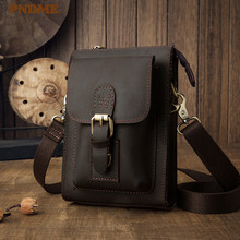 PNDME simple retro genuine leather mens waist packs belt bag casual multi function crazy horse cowhide small shoulder 2019