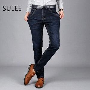Image 2 - Sulee ماركة الرجال الجينز حجم 28 إلى 42 أسود أزرق تمتد الدنيم ملابس رجالي تلائم الرجل النحيف جان ل سروال رجالي بنطلون جينز
