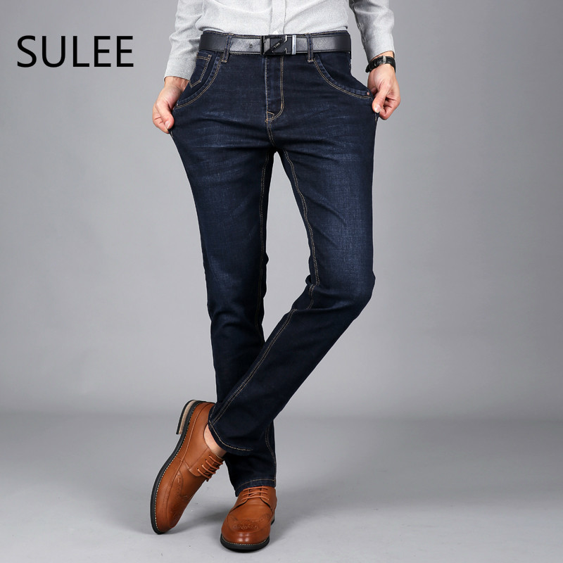 Sulee Brand Men Jeans Size 28 to 42 Black Blue Stretch Denim Slim Fit Men Jean for Man Pants Trousers Jeans airgracias elasticity jeans men high quality brand denim cotton biker jean regular fit pants trousers size 28 42 black blue