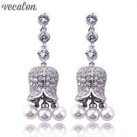 Vecalon Brand Vintage Style Dangle earring Pearl AAAAA Zircon Cz 925 silver Engagement wedding Drop Earring for women