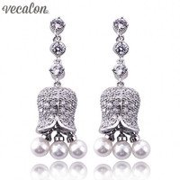 Vecalon Brand Vintage Style Dangle Earring Pearl Simulated Diamond Cz 925 Silver Engagement Wedding Drop Earring