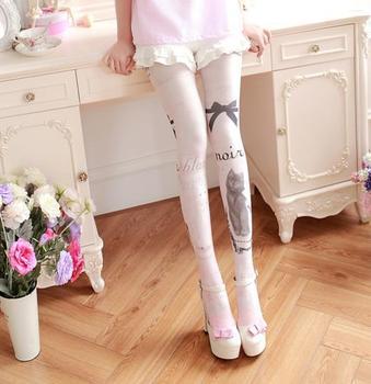 Ink Paint Cat Kawaii Womens Lolita Velet Tights Cute Harajuku Pantyhose Vintage Spring Thin Color Cream Pink tights