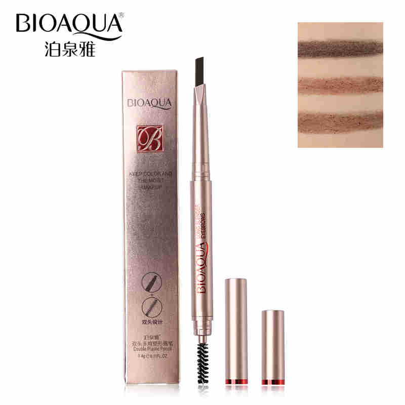 BIOAQUA Brand Double Ended Automatic Eyebrow Makeup Pencil With Brush Color Brown Waterproof Permanent Eyes Brow Pen Cosmetics