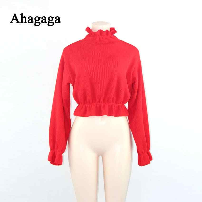 cae9815aca ... Ahagaga 2019 Spring Summer Sweater Women Tops Fashion Solid Red Ruffles  Regular Sexy Short Knitted Women ...