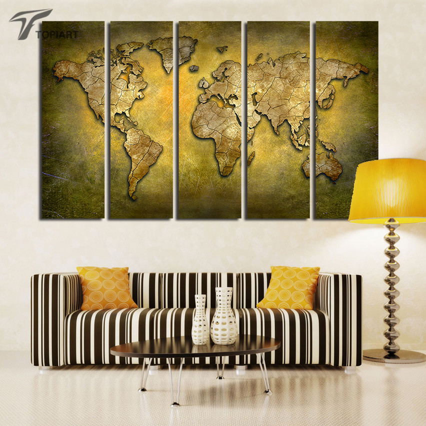 large wall art world map painting 5 panel canvas art paintings vintage home decor print pictures