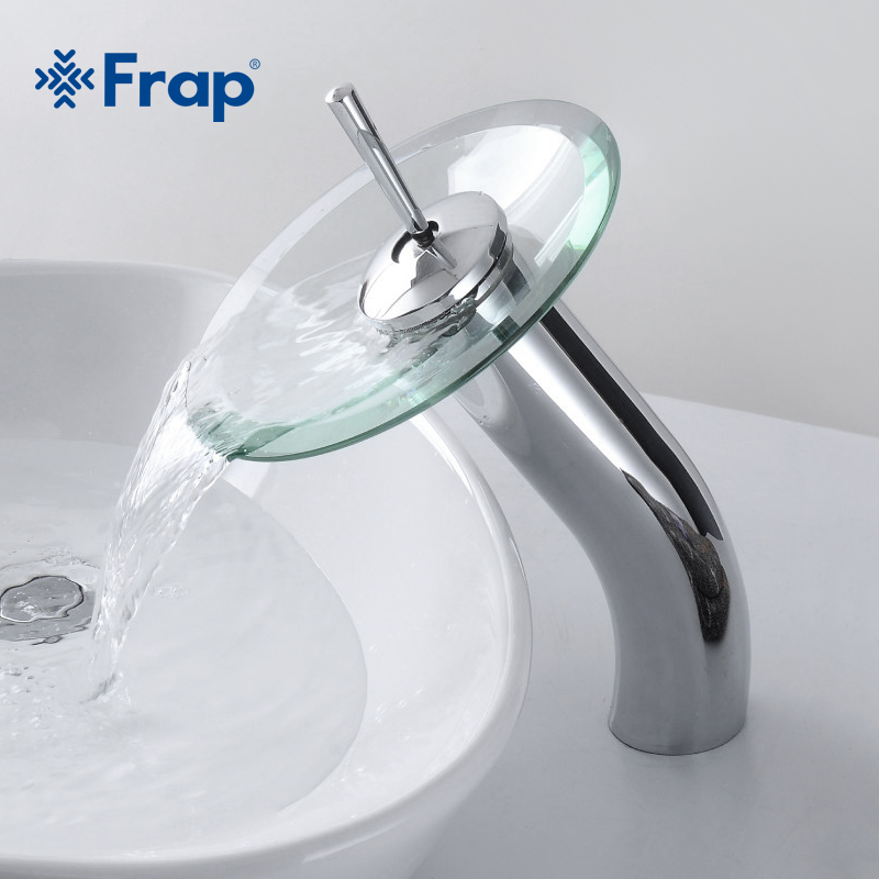 FRAP Brass circle waterfall Glass Bathroom Basin Mixer Tap Waterfall Faucet Sink Vessel Chrome Polished Finish