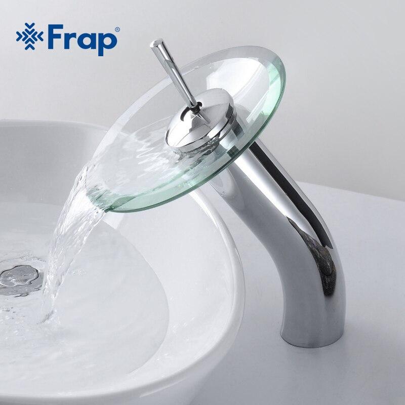 FRAP латунный круг Водопад Стекло Ванная комната бассейна смесителя Водопад кран раковина судно хром полированная отделка F1055-3