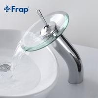 FRAP Brass circle waterfall Glass Bathroom Basin Mixer Tap Waterfall Faucet Sink Vessel Chrome Polished Finish F1055 3