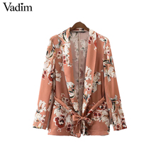 vadim women vintage floral print blazer notched collar sashes long sleeve coat casual  casaco  tops ct1452