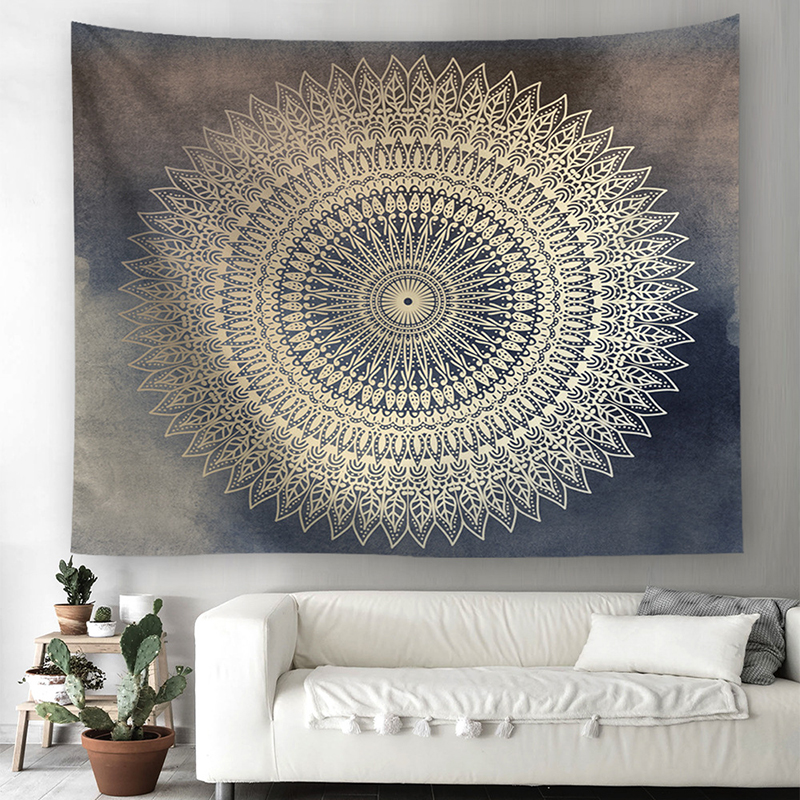 SKTEZO  Mandala Polyester 230*150 CM Square Tapestry Wall Hanging Carpet Throw Yoga Mat for Home Bedroom Decoration headboard