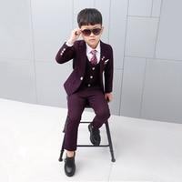 2019 Children Wedding Suit for Boys 4Pcs Blazer Vest Shirt Pants Plaid Blazer Kids Boys Checks Formal Suit Tie Corsage Free