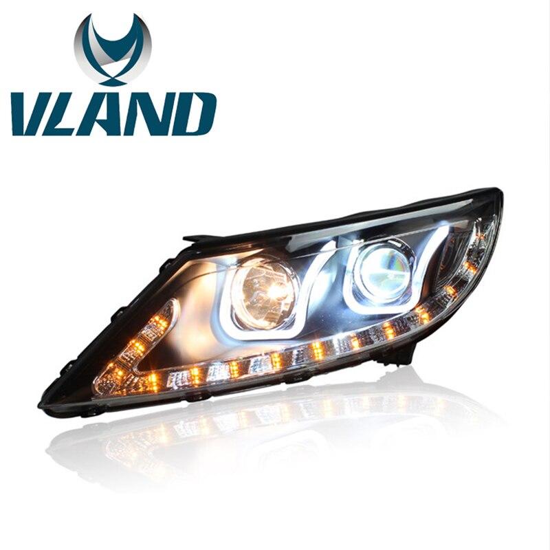 Фабрика для автомобиля фара для KIA Sportage фар 2012 2014 Sportage R светодиодный головного света с DRL H7 ксеноновая лампа объектив 35 Вт