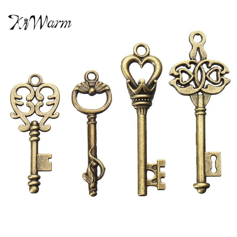 KiWarm 4Pcs Bronze Metal Key Antique Old look Vintage Key For Pendant Necklace Bracelet Hanging Decor DIY Crafts Accessories