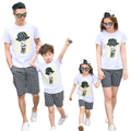 New 2017 Summer Family Cotton Cartoon T-shirt & pants Look Mother Father Baby Matching Clothes Children sets