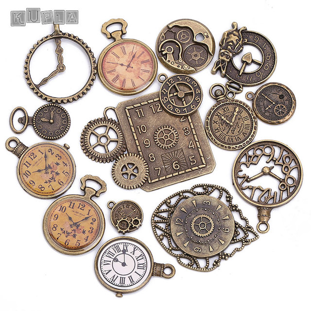 Vintage Metal Zinc Alloy Mixed Clock Charms for Jewelry Making Fashion Diy Decorative Punk Clock Pendant Charms 15pcs/lot C8498