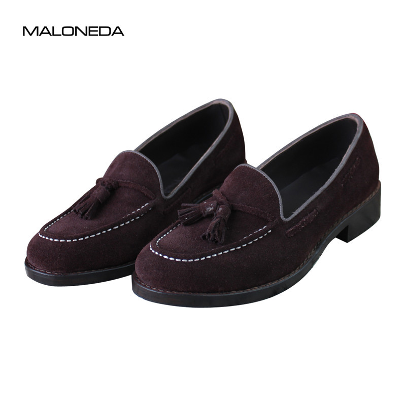 MALONEDA Brand New Pure Manual Casual Tassels Loafers Shoes Handmade Goodyear Welted No-Lace Genuine Leather Suede Slip on Shoes huifengazurrcs new pure handmade casual