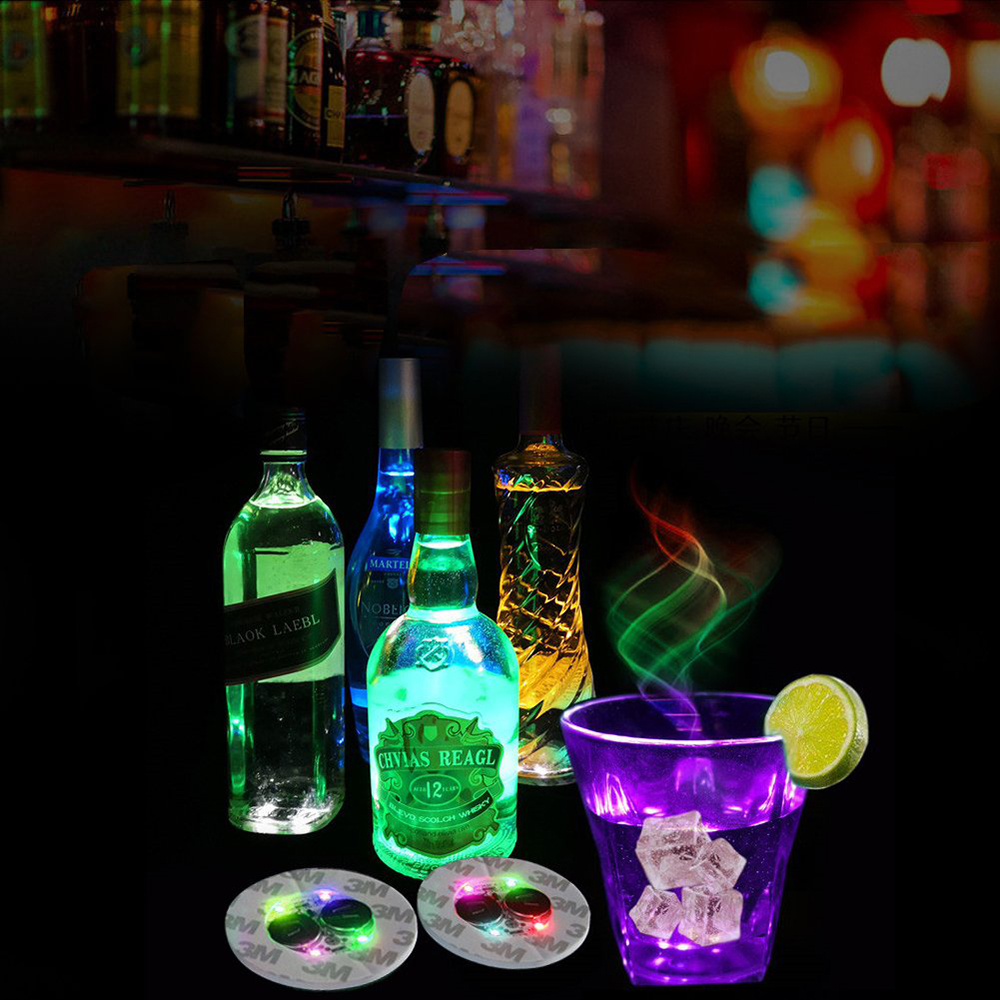 1Pcs Super bright 6 LED Party Bottle Light Stickers Mini Bar Club LED Coaster Cup Mat Vase Christmas Wedding Decoration lights in Holiday Lighting from Lights Lighting