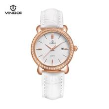 VINOCE Watches Women Designer Ladies Leather Band Calendar Quartz  Watches Crystal Diamond Montre Femme Women's Watches #V6265L