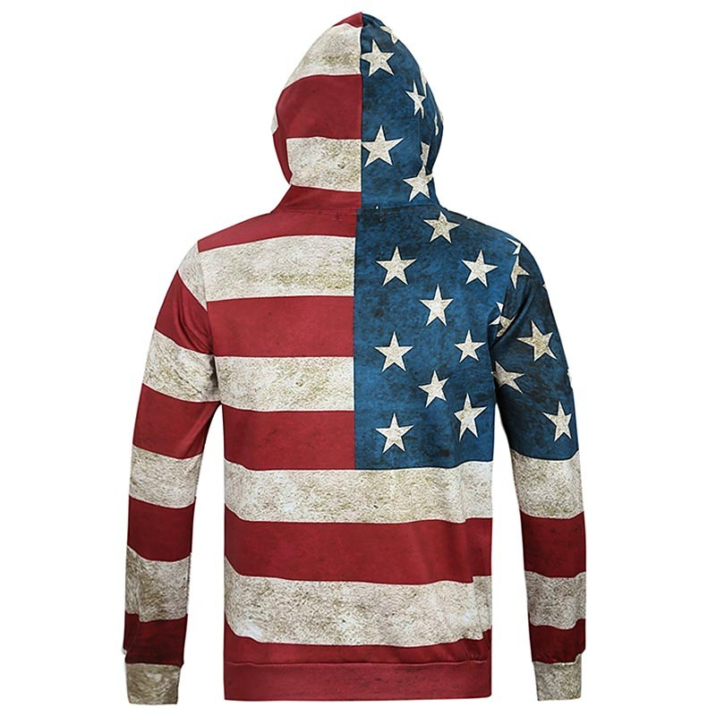 Headbook North America Fashion Women/Men 3d Sweatshirts Print USA Flag Stars Stripped Hooded Hoodies With Cap Hoody Tops 16891