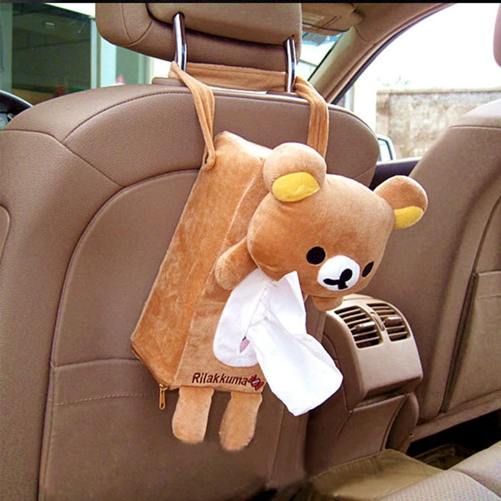 3 Colors Cute Animal Car Tissue Holder Back Hanging Tissue Box Covers Napkin Paper Towel Box Holder Case Paper Towel Holder