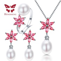 HENGSHENG 100 Real Natural Freshwater Pearl Pendant Earrings Rings Sets For Women 9 10mm Water Drop