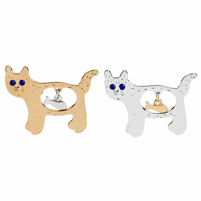 Animal Cat Pins Enamel pins Badges Brooches for Fish cat lover Cute jewelry Banquet Wedding Brooch Gifts