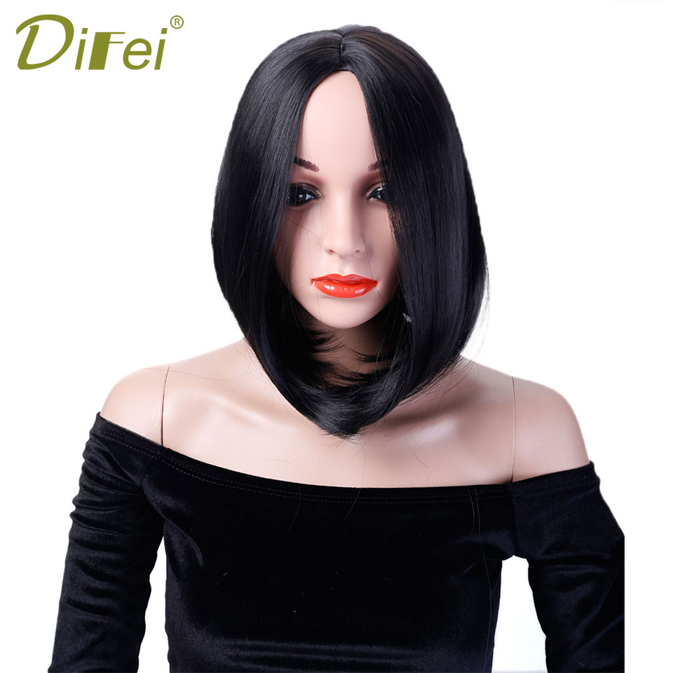 DIFEI Hair Big Sales Promotion 12'' Short Bob Wig Black Straight Synthetic Wigs For Women Pure Color Heat Resistant Hair Wig