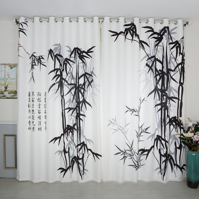 Chinese Style 3D Blackout Curtains Black White Bamboo Ancient Poetry Pattern Thickened Fabric Office