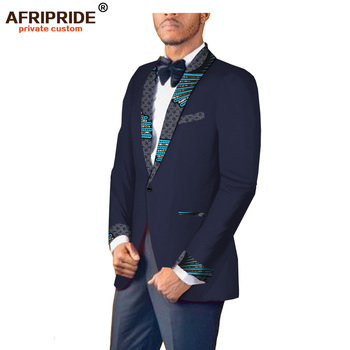 2018 african print spring&autumn suit jacket for men AFRIPRIDE tailor made full sleeve single button fromal suit jacket A1814002