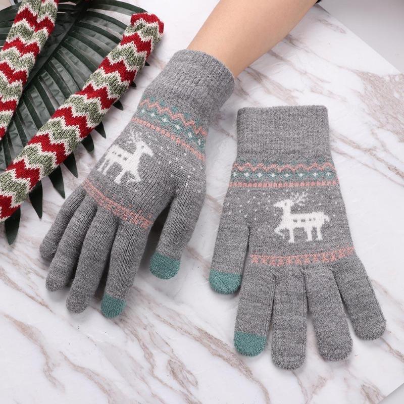Vintage Christmas Deer Knitted Gloves Women Thicken Touch Screen Gloves Winter Warm Snow Elk Full Finger Mittens Xmas Feminina