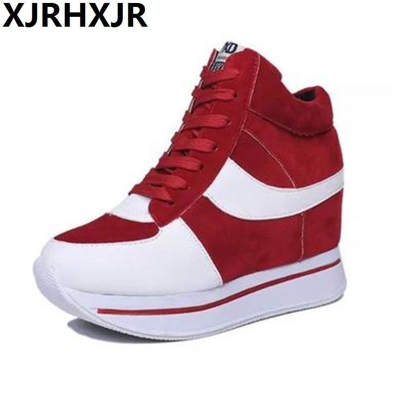 Hot Sales New 2017 Spring&Autumn Black Red 7cm Hidden Wedge Heels Casual Shoes Womens Elevator High-top Shoes For Women