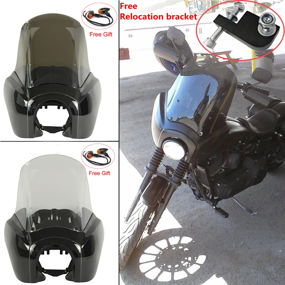 Motorcycle Front Headlight Fairing Headlamp Windscreen Deflector For Harley Dyna Low Rider Glide Street Bob FXR
