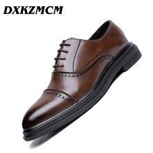 DXKZMCM 2018 Genuine Leather Men Brogues Shoes Lace-Up Bullock Business Dress Men Oxfords Shoes Male Formal Shoes