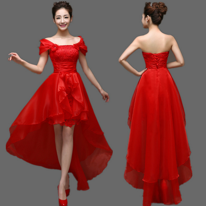Ladies Formal Dress Front Short Long Back Red Graduation Pageant