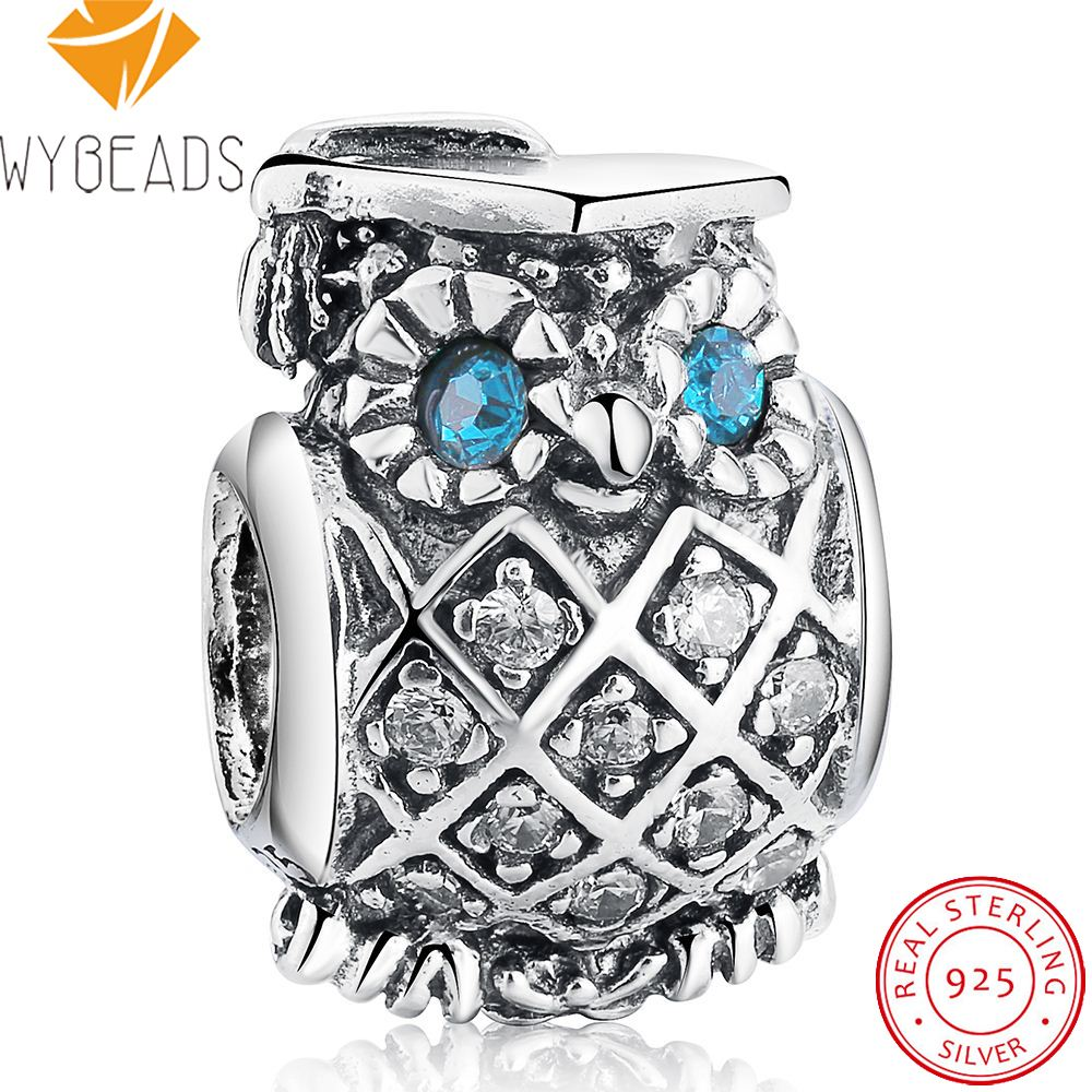 WYBEADS 925 Sterling Silver Owl Doctor CZ Eye Charms European Bead Fit Snake Chain Bracelet Bangle DIY Accessories Jewelry