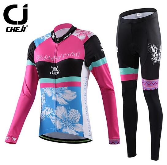 Women Outdoor Cycling Jersey Set Butterfly Bike Bicycle Long Sleeve Jersey Pants