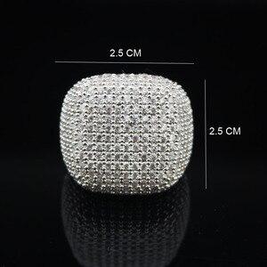 Image 2 - Anillo cuadrado de LYCOON para mujer, sortija de boda de lujo de circonia cúbica con incrustaciones chapadas en plata, anillos de compromiso elegantes para mujer