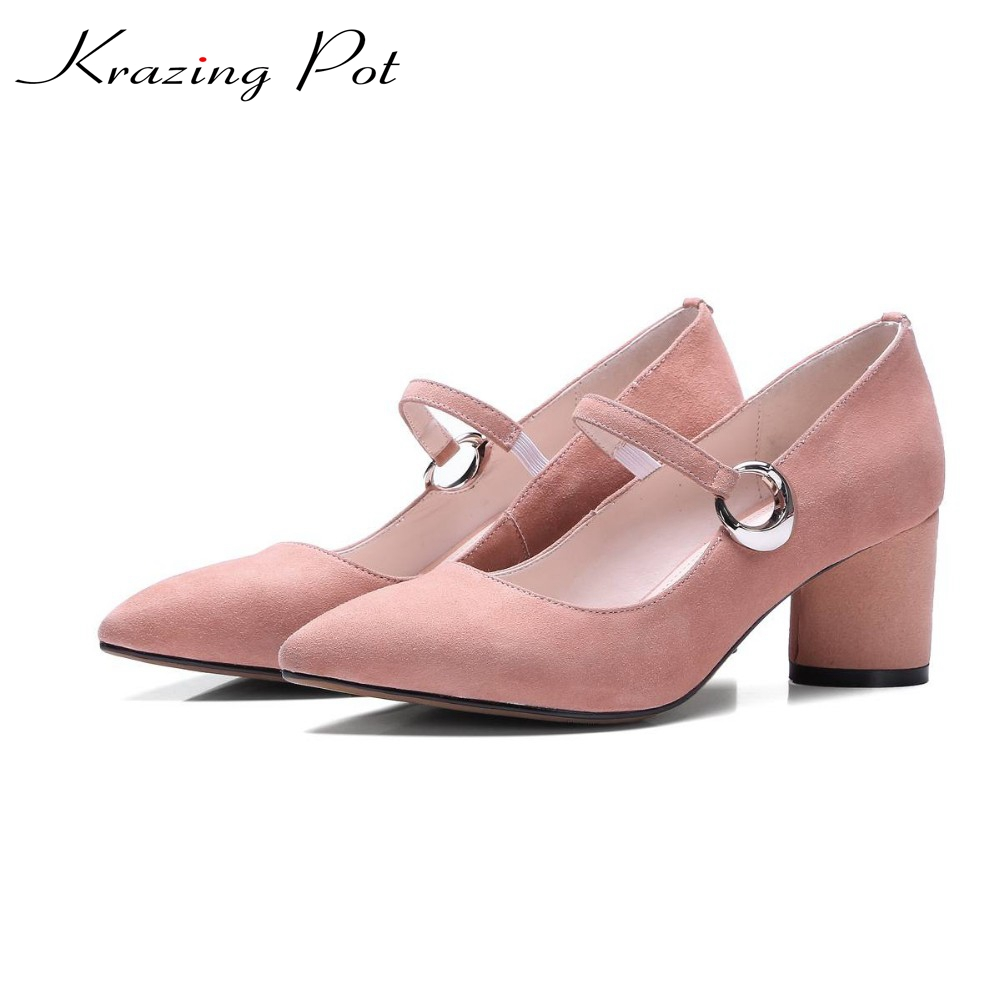 Shoes women fashion genuine leather pointed toe preppy style high heel circle metal buckle pumps mary jane office lady shoes L51 new genuine leather superstar solid thick heel zipper gladiator women pumps pointed toe office lady nude runway casual shoes l88