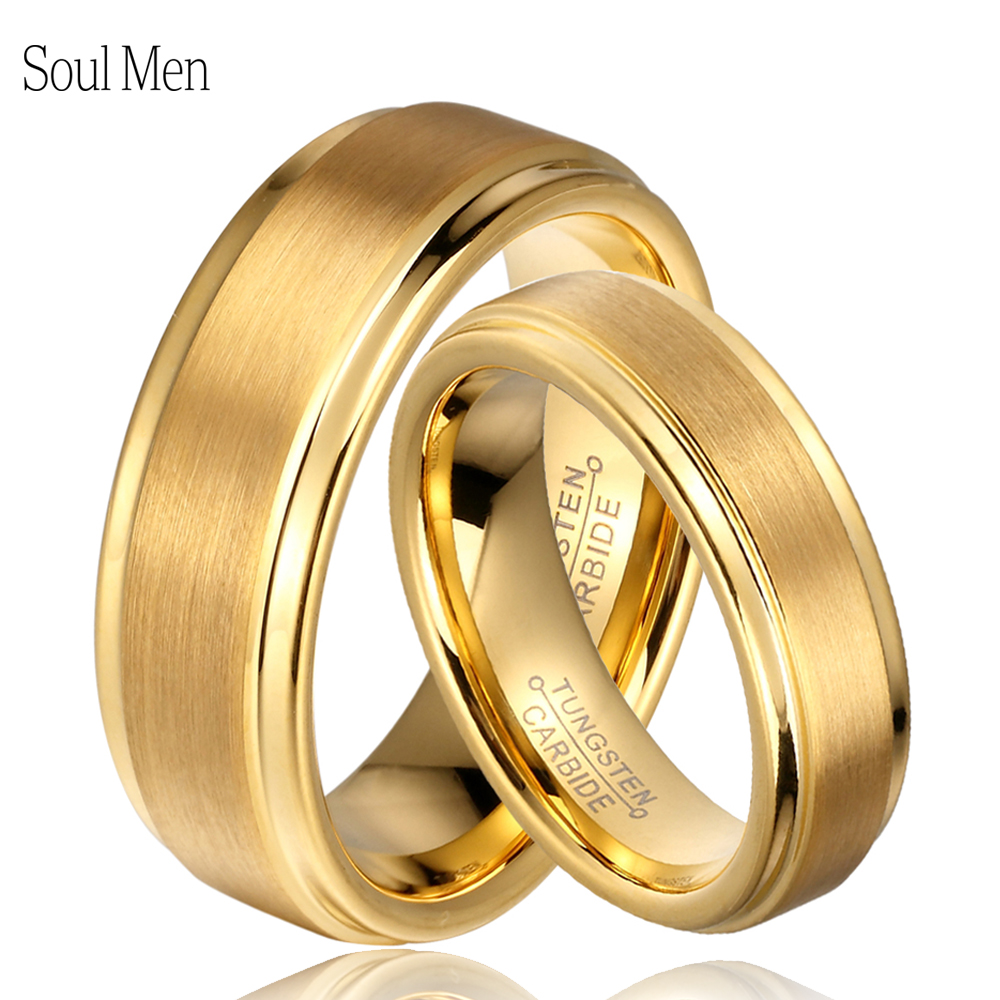 Soul Men 1 Pair 8mm 6mm Gold Color Tungsten Carbide Engagement