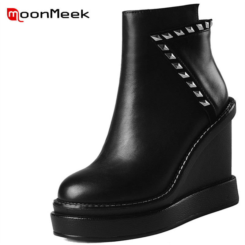 MoonMeek fashion 2018 platform shoes autumn winter ladies boots super high heels woman ankle boots classic genuine leather boots moonmeek 2018 fashion autumn winter shoes woman pointed toe shoes woman wedges ladies boots women genuine leather ankle boots