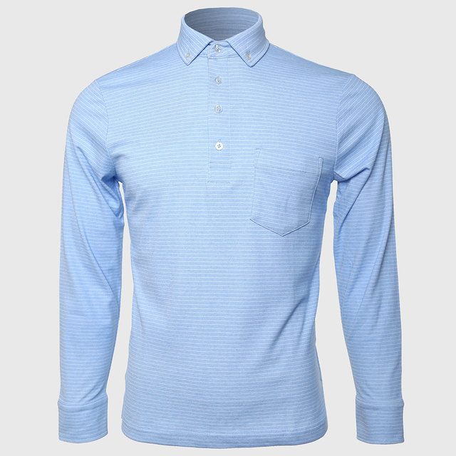 Los hombres camisas de polo de manga larga botón de cuello de rayas caballero desgaste trabajo social