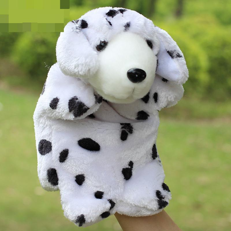 Hot Sale Hand Puppet Dolls Baby Plush Puppet Black And White Spots Cute Dog Doll Toys Brinquedo Marionetes Fantoche