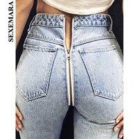 BOOFEENAA сзади блестящая молния синий женские узкие джинсы Повседневное пикантные джинсовые узкие брюки Street Стиль женские ботильоны джинсы ...