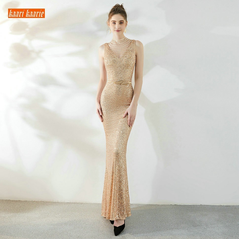 Sumptuous Glod Evening Gown Long Formal Dress 2019 Mermaid Special Occasion Evening Dresses Reflective Slim Fit